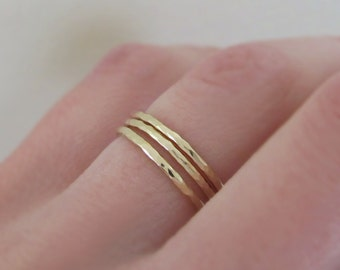 14k Yellow Gold Stacking Ring Set of Three, 1.3 mm, Round Hand Hammered Stacking Rings, Recycled Gold