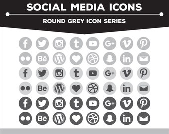Social Media Icons - Round Grey/Charcoal/White Icon Pack PNG Files for Web, Blog, and Print