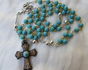 Western Style Turquoise Rosary 6mm