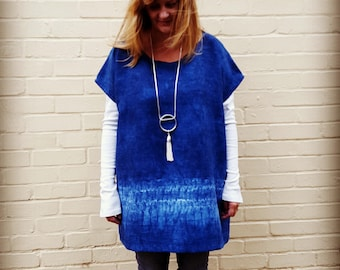 Indigo Hand Dyed Longline Tunic with Patch Pockets