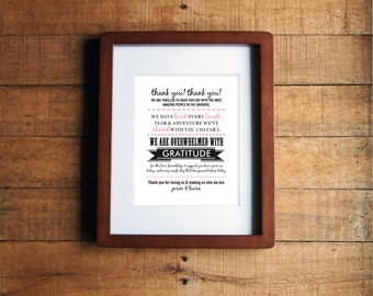 DIY Printable - Wedding Thank You Sign - Typography