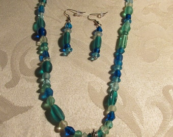 Clear Colored Green and Blue Glass Bead Necklace and Earring Set (N143)