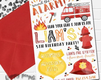 Firetruck Invitation, Firetruck Birthday Invitation, Firefighter Invitation, Firefighter Party, Printable Firetruck Theme, Fireman Birthday