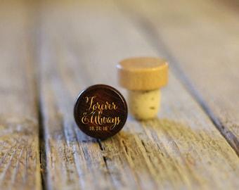 Single Personalized Custom Wine Stopper, Laser Engraved Cork Bottle Topper, Customized Rustic Wedding Favor, Reusable --WS-DG-Forever&Always