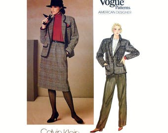 American Designer Calvin Klein Suit, Jacket, Skirt and Pants Sewing Pattern Misses Size 10 Uncut Vogue 1238