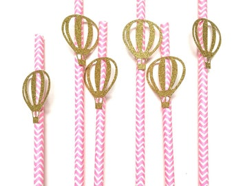 12 pcs hot air balloon gold glitter Paper Straw baby shower birthday blue pink chevron up up and away theme