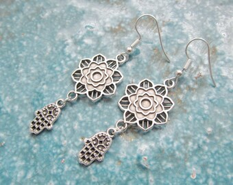 Mandala earrings, hamsa earrings, yoga jewelry