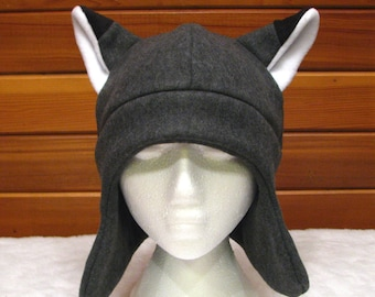 Gray Fox Ear Hat - Mens Womens Teens Grey Fleece Fox Ear Flap Hat