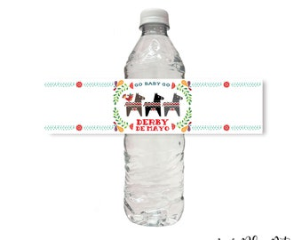 Derby de Mayo Water Bottle Wrap Label, Printable, Cinco De Mayo, Kentucky Derby, Horse Race, Printable, Download, Mexican Folk Art, Fiesta