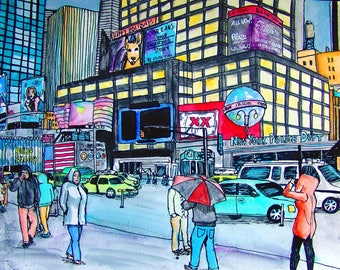 New York City, Times Square, Original Watercolor