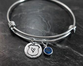Blue Lives Matter / Charm Bracelet / Police Wife Jewelry / Back the Blue / Personalized Bangle Bracelet / Wire Bangle Bracelet