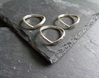 Grace Sterling Silver Slender Plain, Frosted or Half Eternity Wishbone Stacking Rings