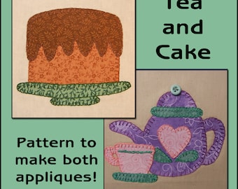 Tea & Cake Applique Templates - Teapot Applique Pattern - Cake Applique Template - Applique  PDF Pattern, DIY
