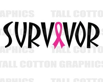 SURVIVOR Hot Pink RIbbon Breast Cancer Vinyl Decal  #BC006