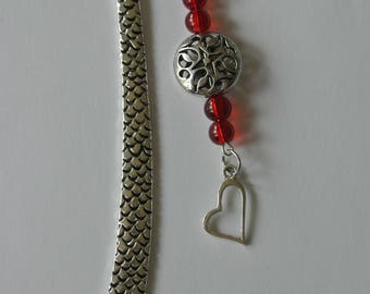 Silver Dragon Bookmark with Red Beads and Silver Heart Charm