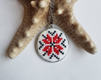 Handmade embroidered necklace