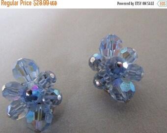 Vintage Earrings, Sherman Earrings, Aurora Boraelis Earrings, Blue Iridescent, Clip On Earrings, Collectible Jewelry