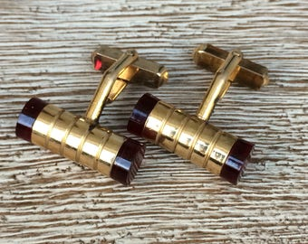 Vintage Barrel Cuff Links Gold Swank CuffLinks Red Gold Filled
