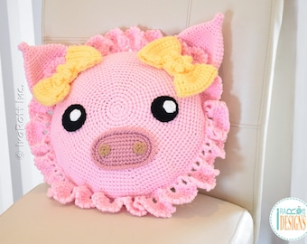 Pinky Piggy Pillow With Bows - READY to SHIP