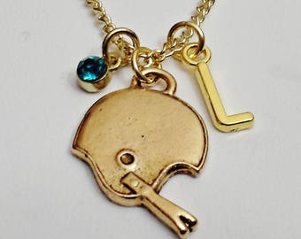Great Design FOOTBALL HELMET personalized  initial Necklace With Personalized Birthstone  /J6