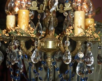 Vintage Brass Crystal CHANDELIER 5 Arm  Ornate Victorian