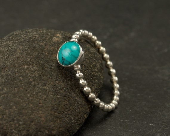 Turquoise Ring- Silver Turquoise Ring- Blue Stone Ring- Sterling Silver Ring- Silver Stone Ring- December Birthstone