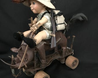 Art doll Mad Max assemblage art vintage baby doll altered art doll