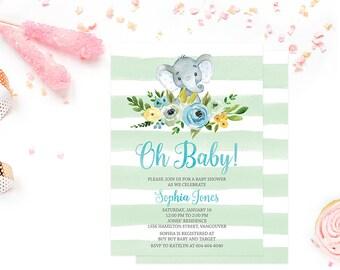 Elephant Baby Shower Invitation Boy, Baby Shower Invitation Printable, Mint Stripes Baby Shower Invitation, Elephant Baby Shower Invite