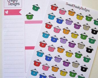 Cute Crockpot / Slow Cooker Stickers!  Perfect for Erin Condren Life Planner, MAMBI/Happy Planner, Plum Planner, Etc.