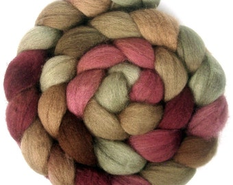 Handpainted BFL Wool Roving - 4 oz. CIDER HOUSE - Spinning Fiber
