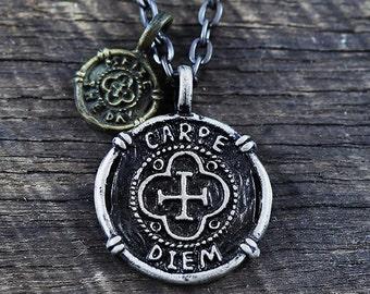 Carpe Diem Necklace Mens Jewelry Necklace Black Chain Carpe Diem Men's Necklace Mens Gift Necklace For Men Jewelry For Men Boyfriend Gift