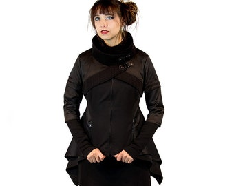 AVALON, avantgarde A-line jacket with cowl neckline by Plastik Wrap.