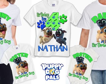 Puppy Dog Pals Birthday family t-shirts with free personalization