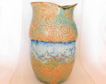 Large Hand-Built Stoneware Pottery Vase with Lace Texture, Natural Rim, WabiSabi, Green, Orange, Flow Blue, White