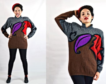 VTG- Late 1980s, Gorgeous, Abstract, Red, Purple, Gray, and Brown, Soft, Angora and Wool, Sweater Tunic, Long Sleeve Jumper- M Medium