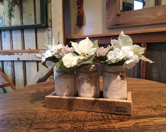 Mason Jar Centerpiece in Antiqued White