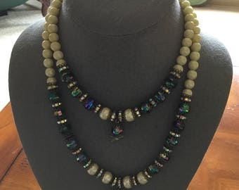 Vintage Hobe Double Strand Necklace and Earrings Set~ FREE SHIP!