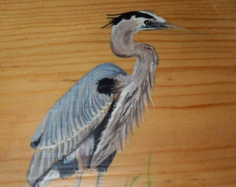 Heron Plaque, Great Blue Heron Wooden Wall Decor