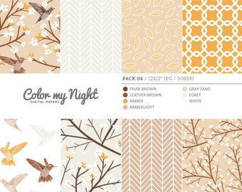 80% OFF SALE Digital Paper Brown 'Pack04' Blossom Flowers, Hummingbirds, Leaves... Digital Scrapbook Papers for Invitations, Crafts...