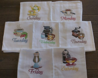 """Coffee Break """"Days of the Week"""" Dish Towels (Set of 7) - Made to Order"""