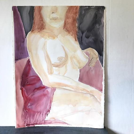 vintage original watercolor - nude woman painting - redhead female portrait