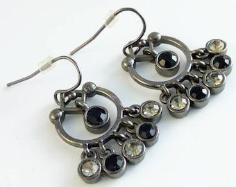 Vintage 34mm rhinestone drop earrings, black rhinestone drop earrings, vintage rhinestone earrings, black rhinestone chandelier earrings