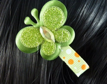 NEW - Green Sparkle Butterfly With Orange and White Polka dots Hairclip Hairbow. - 99cents - HM01