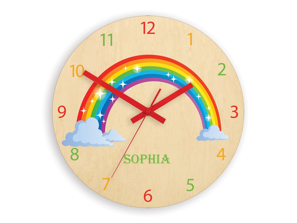 Children wall clock - Rainbow with personalizen name, Wood clock ...