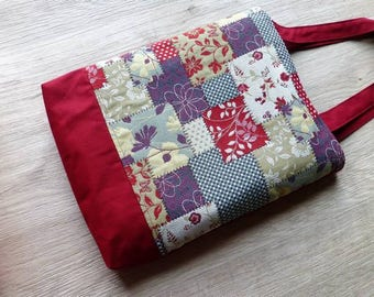 Tote bag in Burgundy fabric and fabric way patchwork