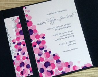 Confetti Wedding Invitations Polka Dots with Script Type in Pink, Purple, and Navy - DESIGN FEE