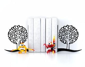 Book ends Trees Bookends Modern decor Book shelf Housewarming gift Book lover gifts Home decor  - black