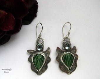 Sterling Silver Earrings With Emerald Enhanced Leaf Cabochons, Blue Topaz, Hand Stamped Navajo Hand Made Stamps, Sterling Earwires.