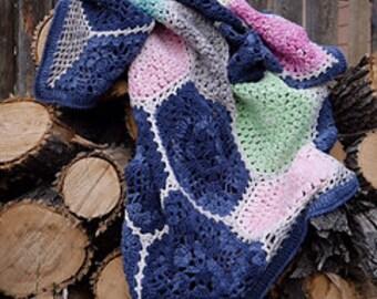 Crochet blanket Pattern/CypressTextiles/Indigo Blossom Blanket/modern traditional motif texture circle unique throw tutorial