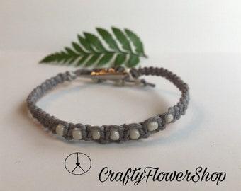 Grey Hemp roach clip bracelet